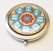 Blue Flower Circles Make-up Round Compact Mirror