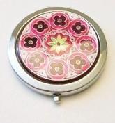 Burgundy Flowers Make-up Round Compact Mirror