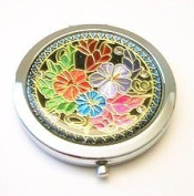 Flowers on Black Make-up Round Compact Mirror