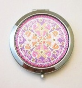 Flowers on Purple Make-up Round Compact Mirror