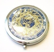 Gold Rose on Blue Make-up Round Compact Mirror