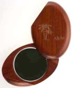 "Compact Mirror - Wooden Oval Carved ""Aloha"" and Palm Trees"