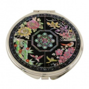 Mother of Pearl Four Noble Beings Design Double Compact Magnifying Cosmetic Makeup Purse Beauty Pocket Mirror