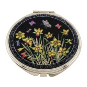 Mother of Pearl Yellow Daffodil Flower Design Double Compact Magnifying Cosmetic Makeup Purse Beauty Pocket Mirror