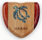 Compact Mirror of a Wooden Heart-Shape with an Abalone Inlay Sea Turtle