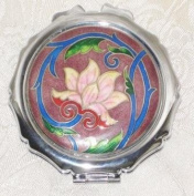 Cloisonne Lotus Round Compact Mirror
