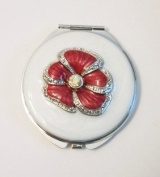 Sicura Red Flower Round White Compact Mirror with Genuine Crystals