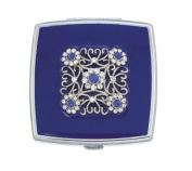 Blue Velvet Square Compact Mirror with Crystals