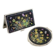 Mother of Pearl Yellow Daffodil Flower Design Compact Mirror Business Credit Name Card Holder Set Stainless Steel Engraved Slim Id Money Case