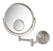 Jerdon 20cm 2-Sided Swivel Wall Mount Mirror with 10x and 15x Magnification, 34cm Extension, Nickel