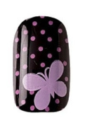 Party Nails Pre-glued 2x Sets of 12 Nails Each Pack Total of 24 Nails in Colour Pink Polka Dot Butterfly #88534 + A-viva Eco Nail File