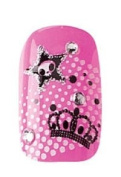 Party Nails Pre-glued 2x Sets of 12 Nails Each Pack Total of 24 Nails in Colour Pink Skull and Crown Sparkle #88537 + A-viva Eco Nail File