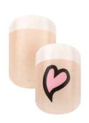 Cala Little Miss Nails Press On Set in Natural with Heart and White French Tip + FREE Aviva nail file