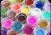 24x Mixcolor Glitter Powder Dust DIY . Shining Nail Art Tip Decoration