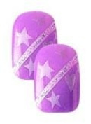 Cala Little Miss Nails Press On Set in Purple with White Stars and Stipes + FREE Aviva nail file