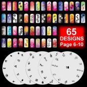 5 Airbrush Nail Stencil Sheet Art Paint Design Set Pages 6-10