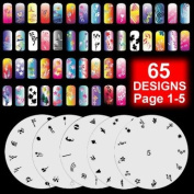 5 Airbrush Nail Stencil Sheets Art Paint Design Kit Pages 1-5