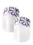 Cala Little Miss Nails Press On Set in White with Purple Flower Tips + FREE Aviva nail file