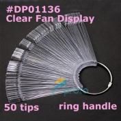 48 Clear Nail Tips Nail Art Display Fan-Shaped with Ring Handle