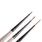 Set of 3 Professional Sable Nail Art Drawing Painting Pen Brush Detailer Liner Striper Tools