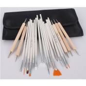 20pc Nail Art Design Painting Detailing Brushes & Dotting Pen Tool Kit Set -15 Brush + 5 Dotting Pen