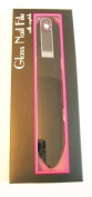 Glass Nail File with Velvet Sleeve - Clear with Purple Flower Crystals 15.2cm