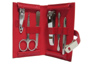 Bey-Berk Small Red Leather Manicure Kit