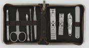 Mens Manicure Set (MMS4) - 9 Piece Brown Mock Croc Travel Manicure Set For Men