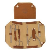 Pedicure Implement Kit * 6 Pc In Brown Snap Case * For Men Or Women