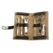 Bey-Berk Small Chocolate Brown Leather Manicure Kit