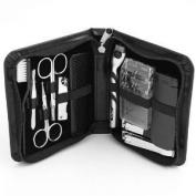 Bey Berk 11 Piece Manicure / Shave Set Black Leather