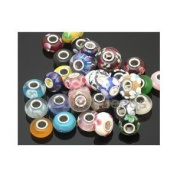 Pack of Ten (10) Assorted Colourful 100% Pure Murano Glass Bead Charms - Fits Pandora, Chamilia, Troll, and Biagi Charm Bracelets