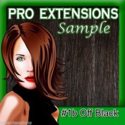 #1b Off Black, 15cm Sample of Clip on in Human Hair Extensions Set