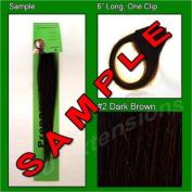 #2 Dark Brown, 15cm Sample of Clip on in Human Hair Extensions Set