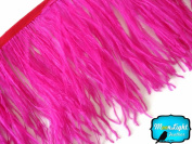Moonlight Feather , Hot Pink Ostrich Fringe Trim Feather - 10cm Strip of Ostrich Feathers