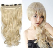 One Fashionable 41cm Long By 20cm Wide Golden Blonde Curly Wavey Synthetic Clip on Hair Extension