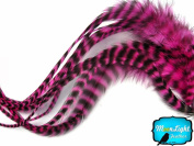 Moonlight Feather, Hair Extension Feathers; Pink Grizzly Thick Rooster Feathers; 29cm Long and Up; 6 Pieces Per Pack
