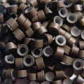 500 PCS 5mm Medium Brown Colour Silicone Lined Micro Rings Links Beads Linkies For I bonded Tipped Hair Extensions