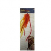 Rocken Feathers Natural Hair Extention Hand Made in the USA Fire-Tiger Red-Bright Yellow- Assorted