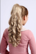 Long Light Blonde Wavy/curly Hairpiece Hair Claw Clip/drawstring Ponytail Piece Wig