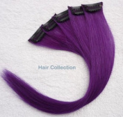Hair Collection-30cm Purple 100% Human Hair Clip in on Extensions - 4.1cm widex5pcs