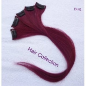 Hair Collection-46cm Burgundy 100% Human Hair Clip in on Extensions - 4.1cm widex5pcs