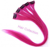 Hair Collection-46cm Hot Pink 100% Human Hair Clip in on Extensions - 4.1cm widex5pcs