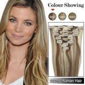 46cm Clip in Remy Human Hair Extensions 70g 7pcs #8/613 Ash Brown/platinum Brown