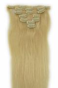 60cm Clip in Remy Human Hair Extensions 613# Bleach Blonde 7pcs 70g