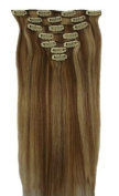 60cm Clip in Remy Human Hair Extensions Light Brown with Bleach Blonde 7pcs 70g