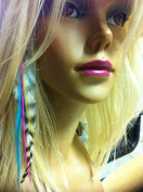 """100 Real Feather for Hair Extenisons Mix Colour Hair Extensions 4""""-14cm Long Includes 100 Silicone Micro-ring Beads & Hook Pulling Tool."""