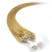 60cm Loop Micro Ring Beads Tipped Remy Human Hair Extensions 100s 24 Golden Blonde for Women's Beauty Hairsalon in Fashion