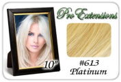 25cm Inch #613 Platinum Blonde Pro Extensions Human Hair Extensions