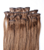 Full Head 46cm 100% REMY Human Hair Extensions 7Pcs Clip in #6 Med Chestnut Brown